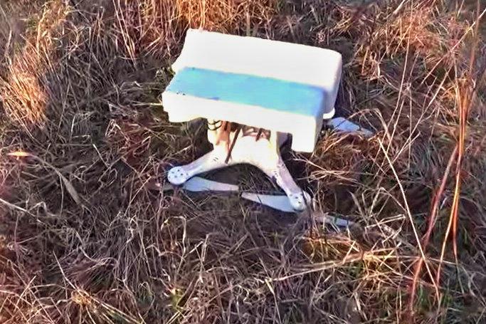test pádu kvadrokoptéry za lety
