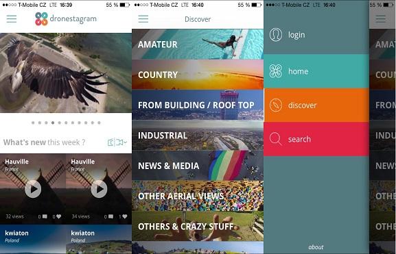 Aplikace Dronestagram a hlavní položky menu | Zdroj: aplikace