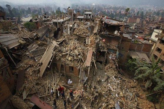 Snímek zachycující rozsah škod v Nepálském hlavním městě Kathmandu | Zdroj: businessinsider.in