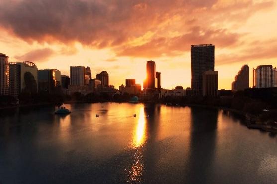 Záběry na jezero Eola při západu slunce | Zdroj: video