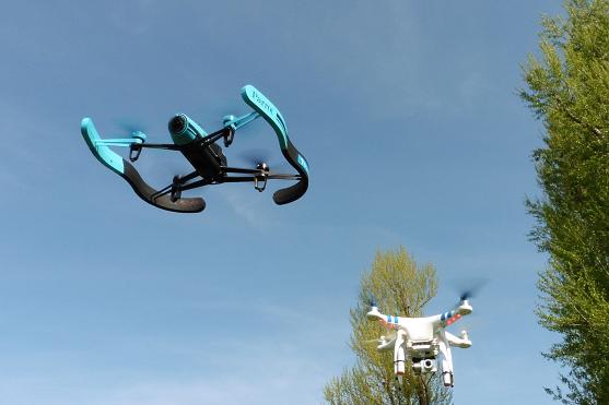 dron Parrot Bebop a DJI Phantom