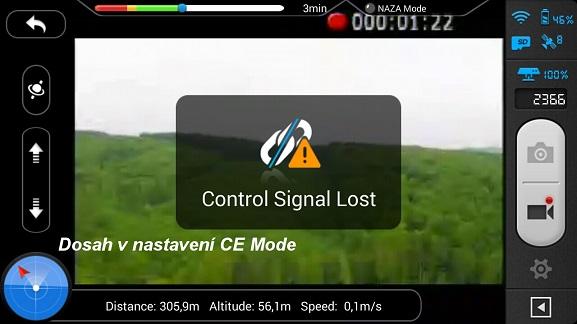Dosah při nastavení CE módu | Zdroj: droncentrum