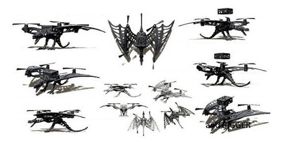 Různé druhy rámů, které je možno ke kvadrokoptéře připevnit | Zdroj: indiegogo.com - Micro Drone 3.0
