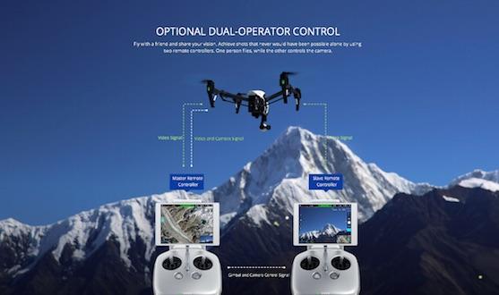 Duální ovládání kvadrokoptéry Inspire 1 | Zdroj: dji.com