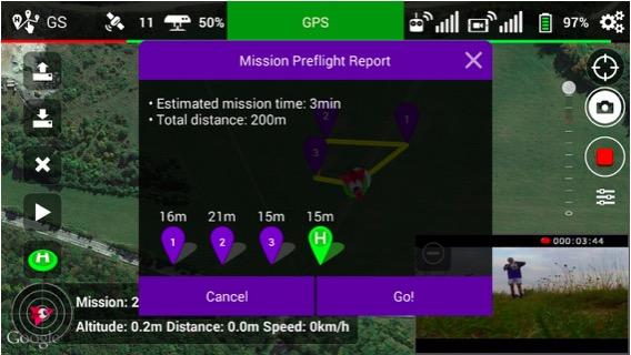 Možnost kontroly a odstartování naprogramovaného letu | Zdroj: droncentrum
