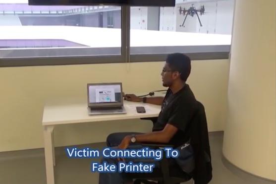 Mobilní telefon připevněný na dronu zřizuje falešný přístupový bod | Zdroj: video