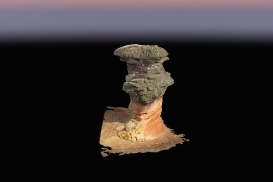 3D model záhadného úkazu Hemlock Stone | Zdroj: video