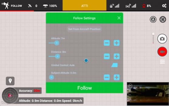 Nastavení funkce Follow Me v aplikaci Litchi | Zdroj: droncentrum