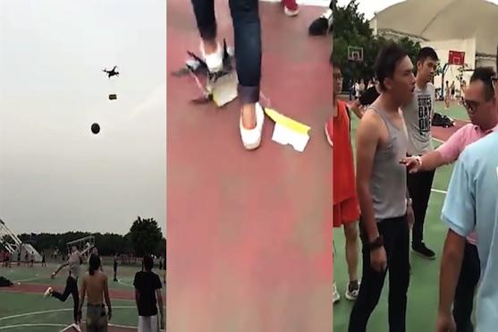 Rozzuřený student sestřelil dron basketbalovým míčem a napadl pilota | Zdroj: video